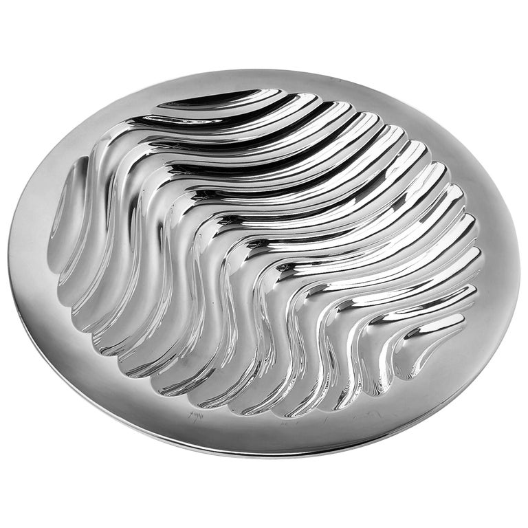 Contemporary Sterling Silver Bowl Round Double Skinned Wave Alex Brogden 1993 For Sale