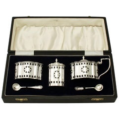 Contemporary Sterling Silver Condiment Set