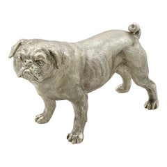 Contemporary Sterling Silver Model of a Pug