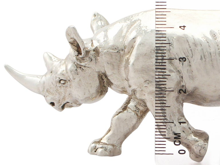 Contemporary Sterling Silver Model of a Rhinoceros, 2011 For Sale 1