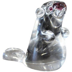 Contemporary Steuben Small Signed Beaver Statuette Glass Sculpture Garnet Eyes