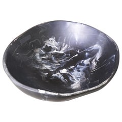 Contemporary Stone Edge Resin Bowl in Black and White Marble