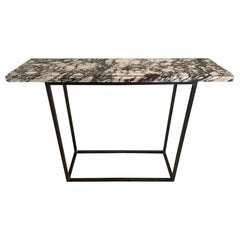Contemporary Stone Top and Metal Base Console Table