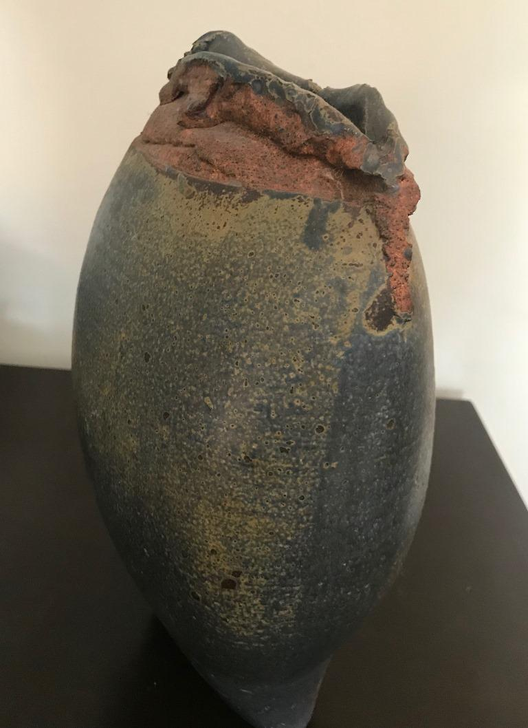Hand-Crafted Contemporary Stoneware Vessel Attributed to Adam Silverman For Sale