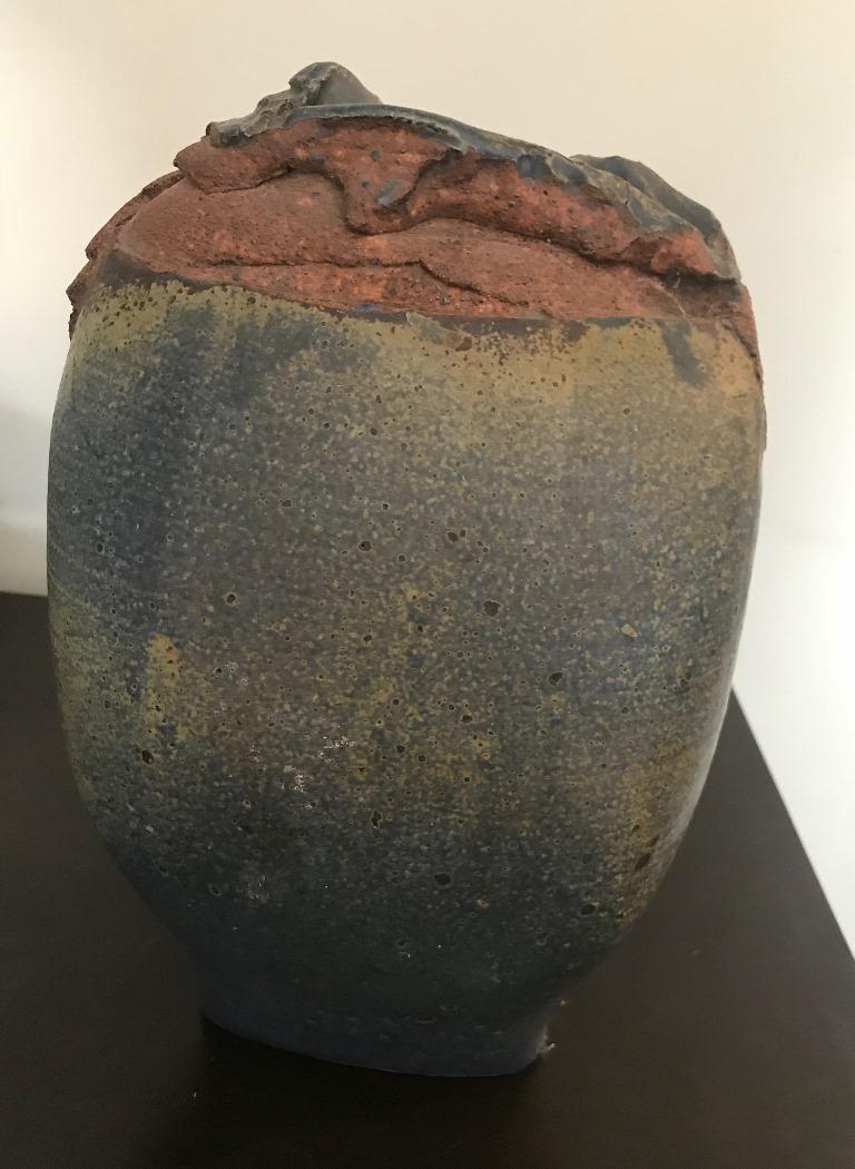 Contemporary Stoneware Vessel Attributed to Adam Silverman In Good Condition For Sale In Studio City, CA