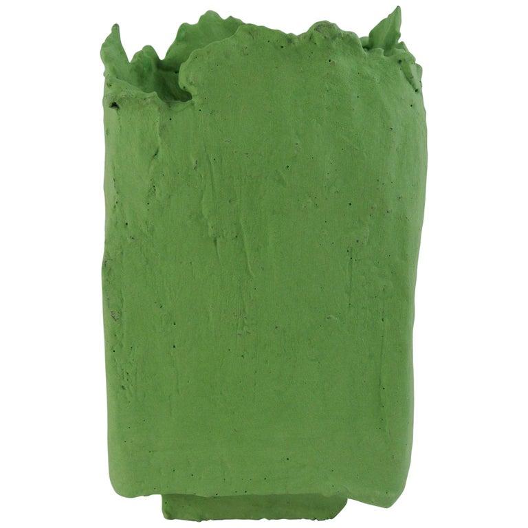 Christine Roland stoneware vessel with lichen-green engobe and glossy green glaze, 2018