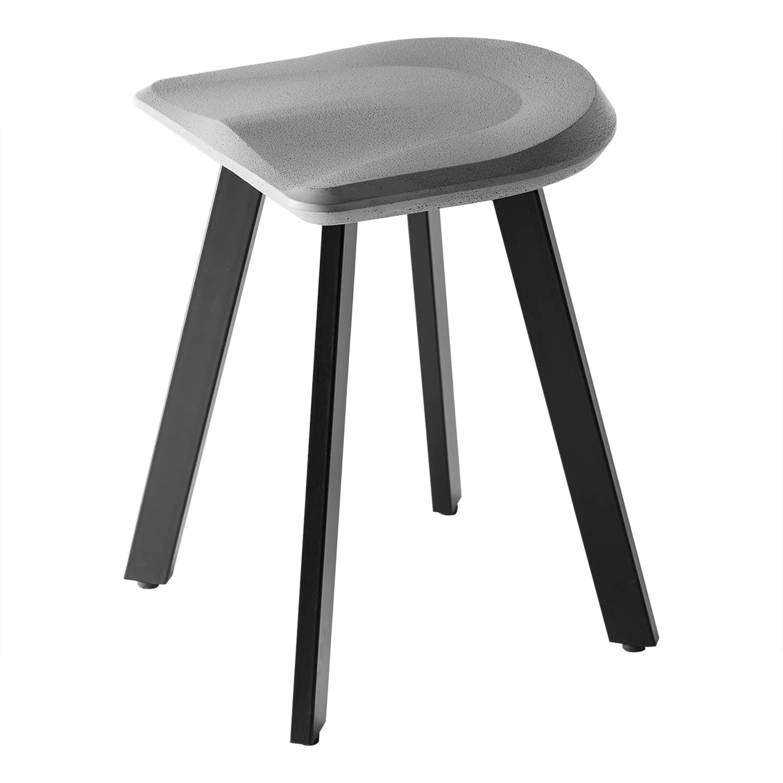 Contemporary Stool 'A' Made of Concrete and Aluminum