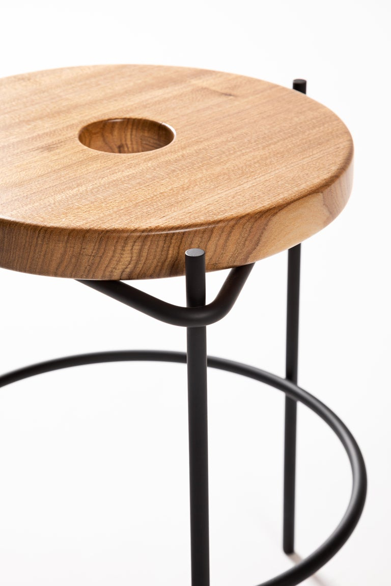 Varnished Minimalist Stool in Solid Wood