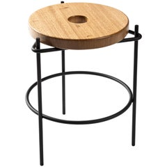 "Contemporary Stool in Steel and Solid Wood, ""Thais"" by Samuel Lamas"
