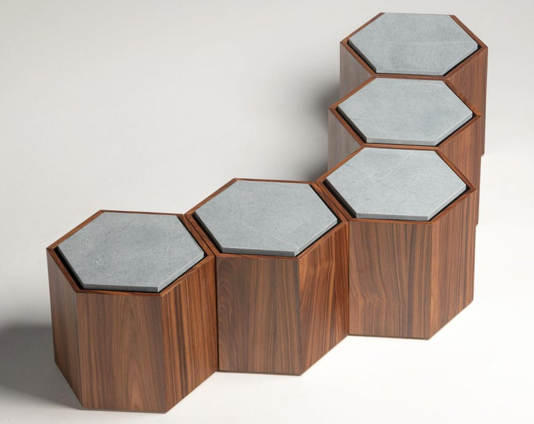 Contemporary Stool Side Table in Wood and Stone For Sale 5