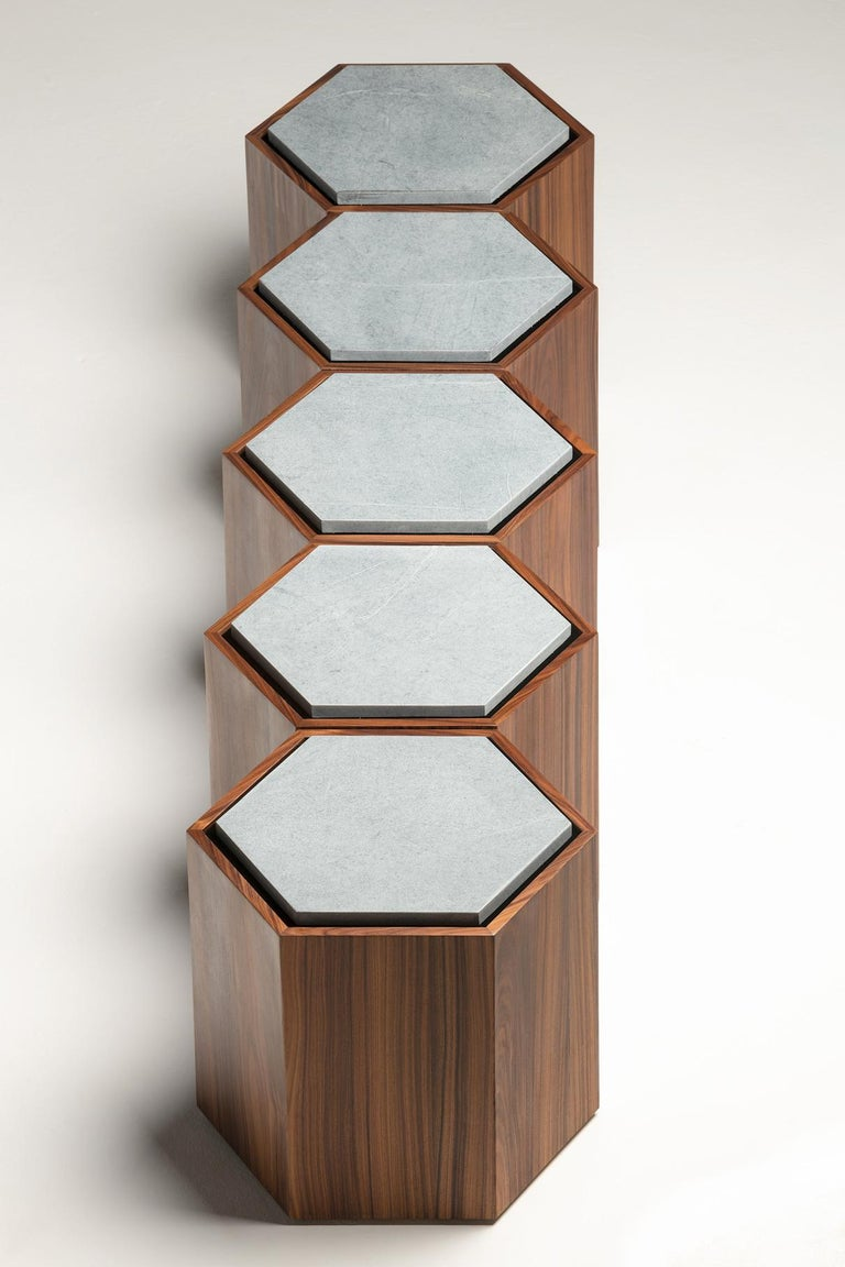 Contemporary Stool Side Table in Wood and Stone For Sale 7