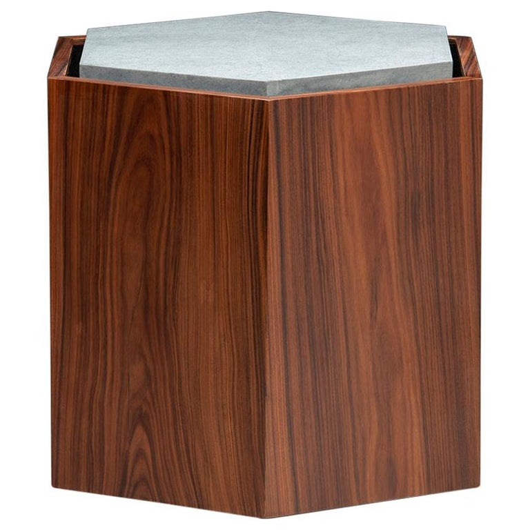 Contemporary stool or side table in walnut veneer and levigated soapstone top with the base of the stone in velvet. Can come with wheels. You can use as a set or individual.