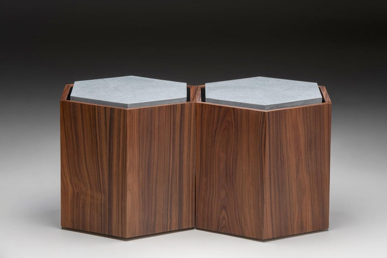Brazilian Contemporary Stool Side Table in Wood and Stone For Sale