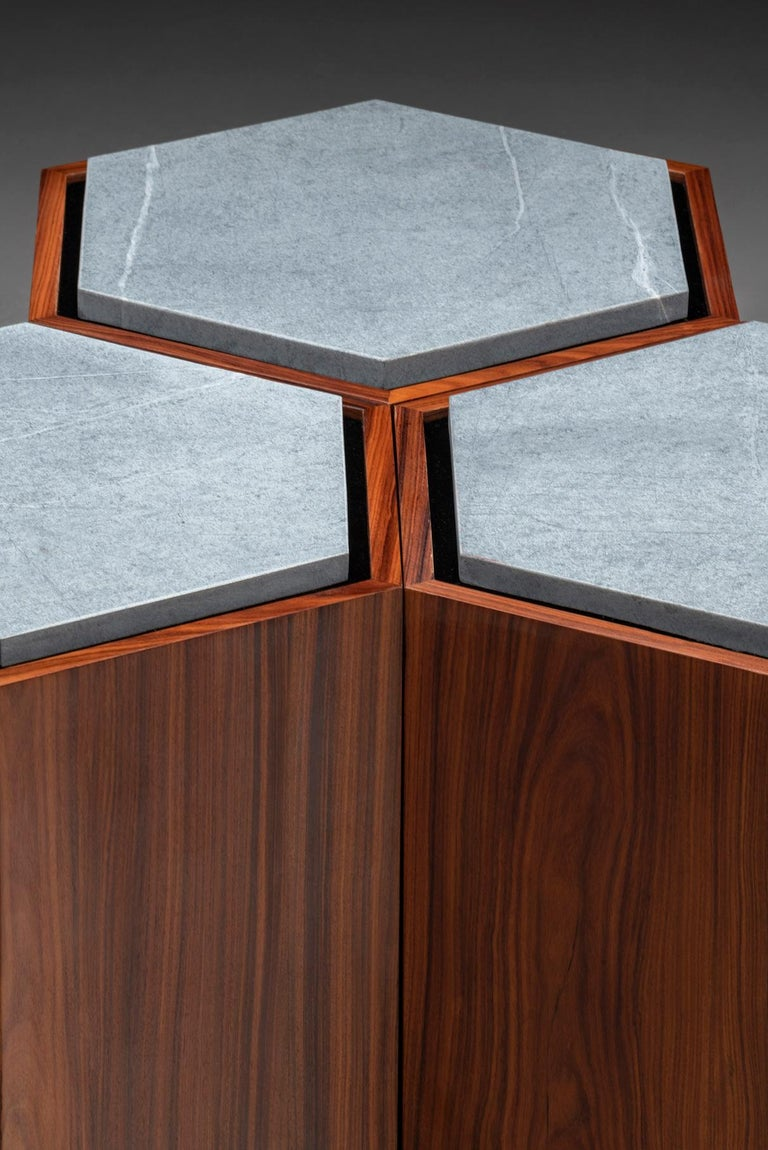 Laminated Contemporary Stool Side Table in Wood and Stone For Sale