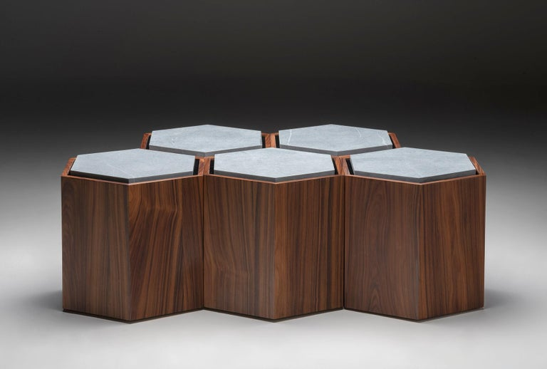 Contemporary Stool Side Table in Wood and Stone For Sale 1