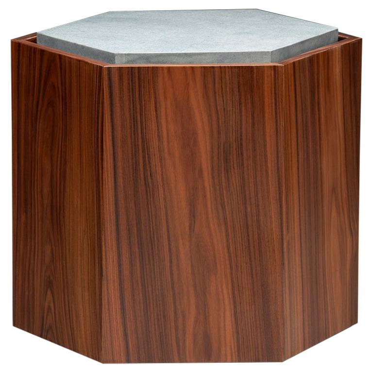 Contemporary Stool Side Table in Wood and Stone For Sale