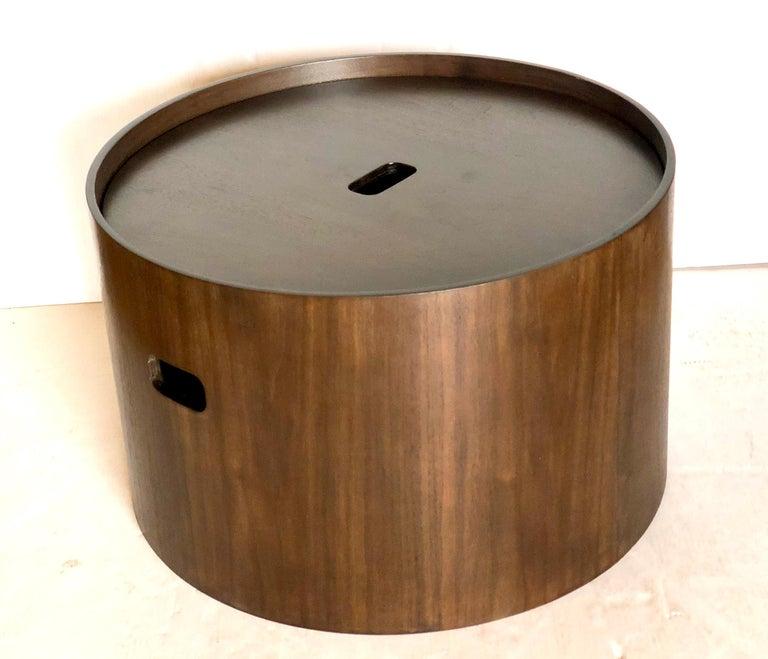 Contemporary Storage Bin Round Coffee Table In Dark Walnut