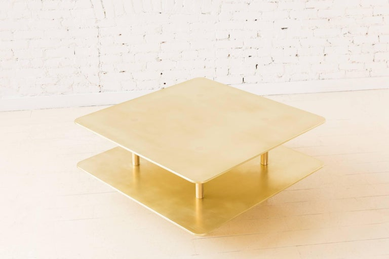 Contemporary Two Tier Strata Coffee Table in Brass by Fort Standard, in Stock For Sale 2