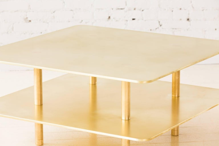 Contemporary Two Tier Strata Coffee Table in Brass by Fort Standard, in Stock For Sale 3