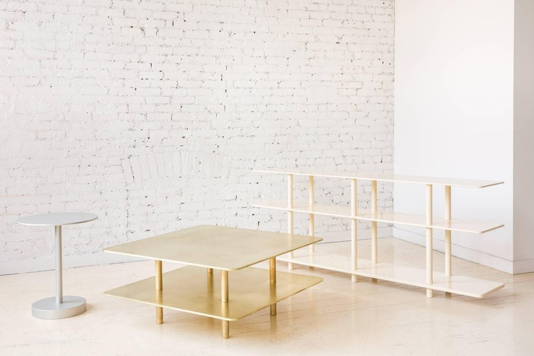 Contemporary Two Tier Strata Coffee Table in Brass by Fort Standard, in Stock For Sale 4