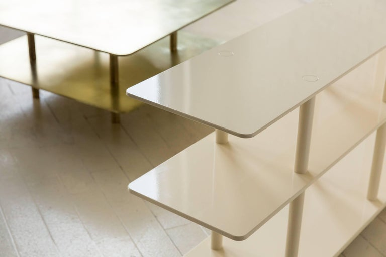 Contemporary Two Tier Strata Coffee Table in Brass by Fort Standard, in Stock For Sale 6