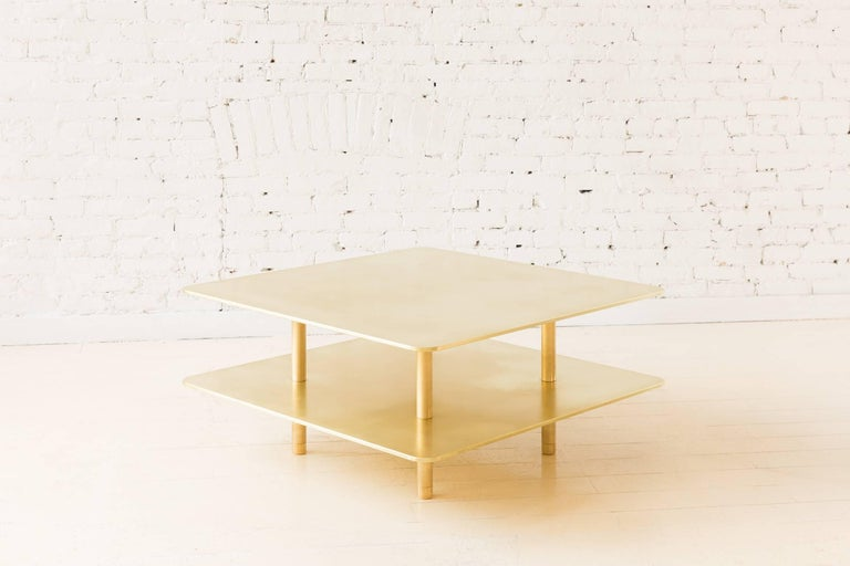 Aluminum Contemporary Two Tier Strata Coffee Table in Brass by Fort Standard For Sale