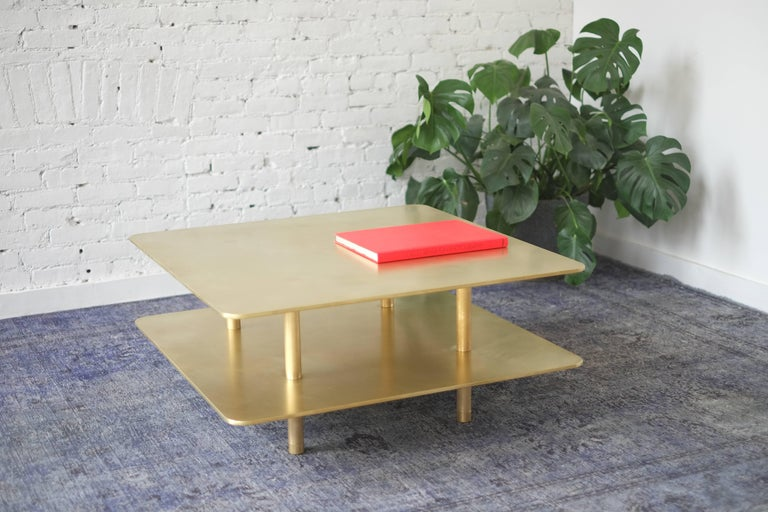 American Contemporary Two Tier Strata Coffee Table in Brass by Fort Standard For Sale