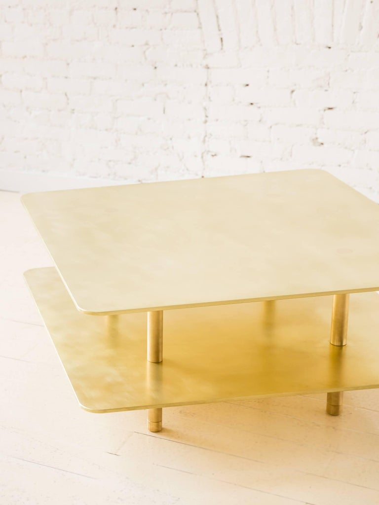 Contemporary Two Tier Strata Coffee Table in Brass by Fort Standard For Sale 2