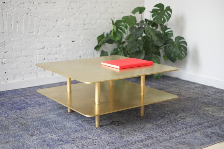American Contemporary Two Tier Strata Coffee Table in Brass by Fort Standard, in Stock For Sale