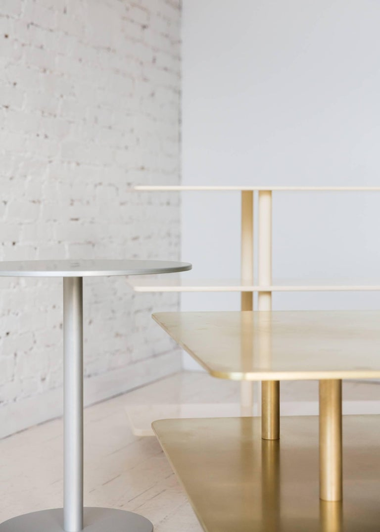 Contemporary Strata Side Table in Anodized Aluminum by Fort Standard, in Stock For Sale 4