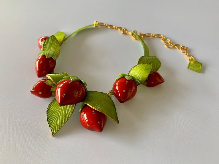 Contemporary  Strawberry Statement Necklace For Sale 6