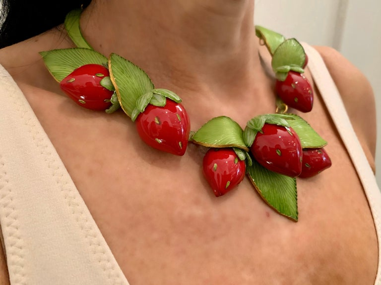 Contemporary  Strawberry Statement Necklace For Sale 1