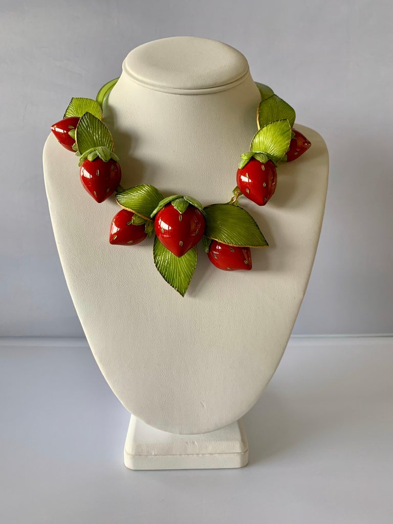 Contemporary  Strawberry Statement Necklace For Sale 3