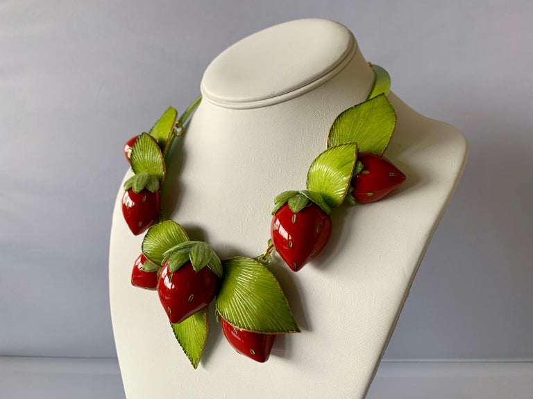 Contemporary  Strawberry Statement Necklace For Sale 4