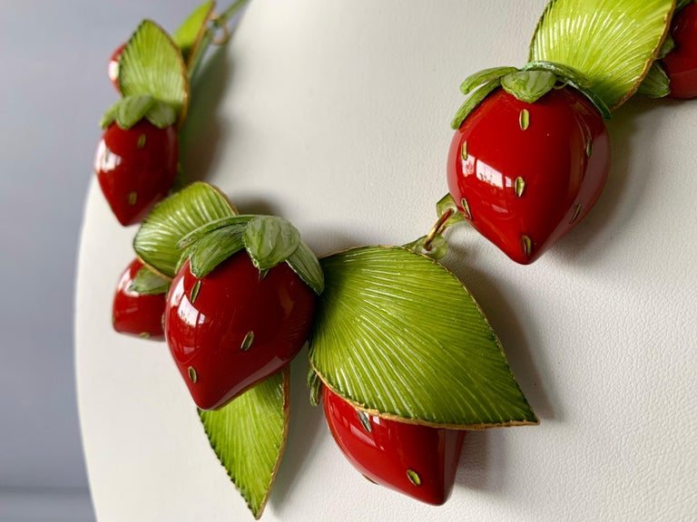 Contemporary  Strawberry Statement Necklace For Sale 5