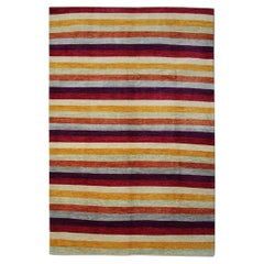 Contemporary Striped Area Rug Multicolored Modern Bedroom Rug