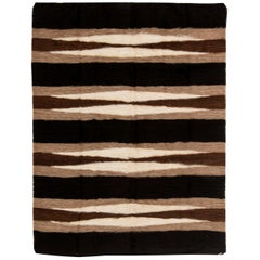 Contemporary Striped Dark Chocolate and White Taurus Collection Goat Hair Rug
