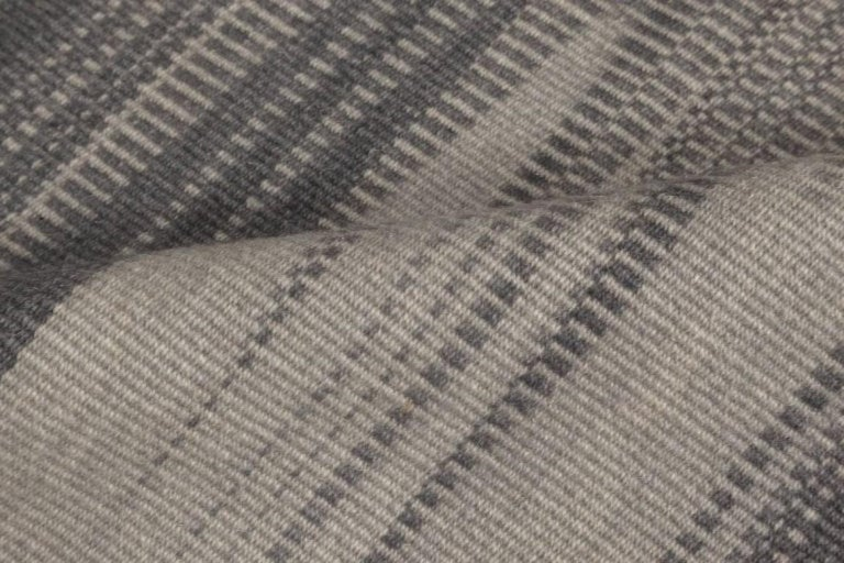 Contemporary striped dark and light gray Kilim blend wool rug Size: 9'10