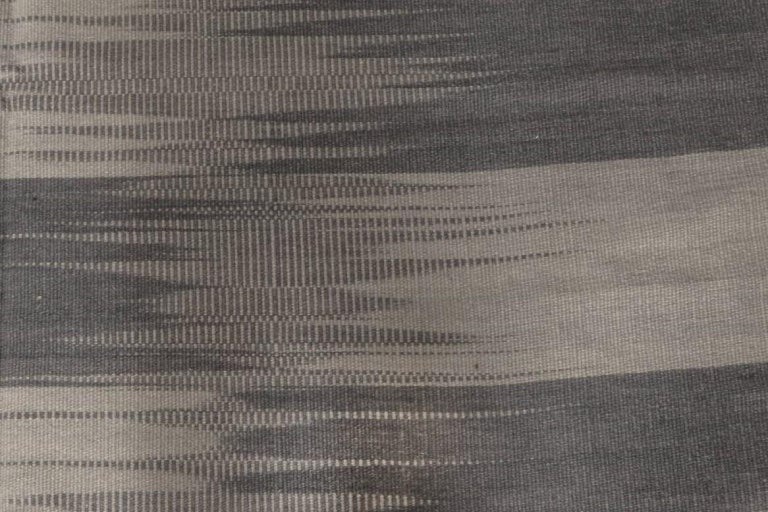 Turkish Contemporary Striped Dark and Light Gray Kilim Blend Wool Rug For Sale