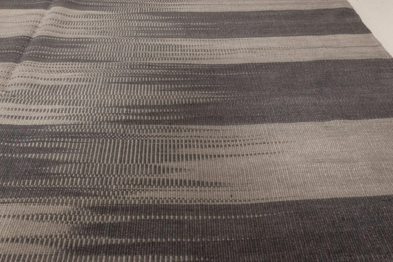 Contemporary Striped Dark and Light Gray Kilim Blend Wool Rug For Sale 1