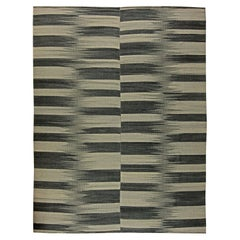 Contemporary Striped Dark and Light Gray Kilim Blend Wool Rug