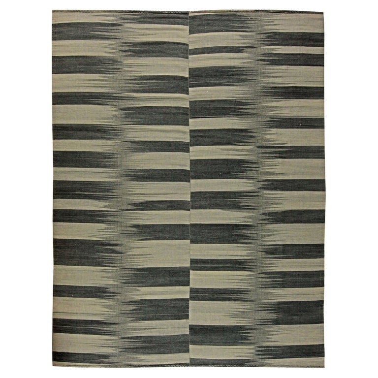 Contemporary Striped Dark and Light Gray Kilim Blend Wool Rug For Sale