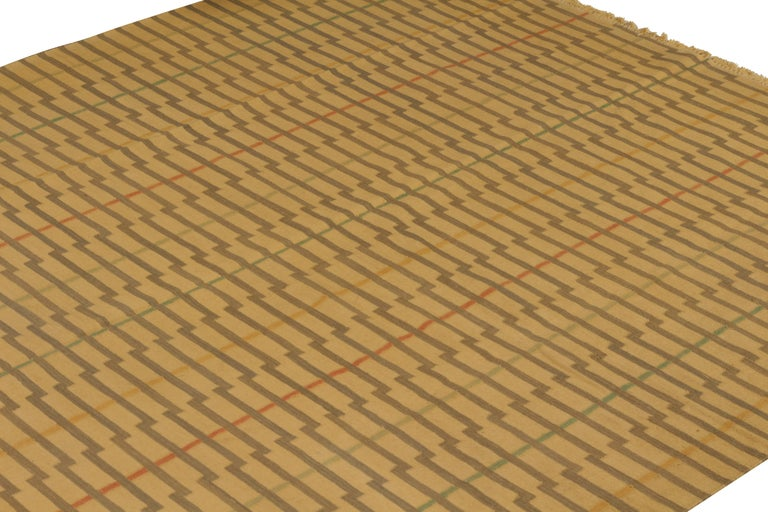 Indian Contemporary Striped Flat-Weave Beige Brown Pattern by Rug & Kilim For Sale