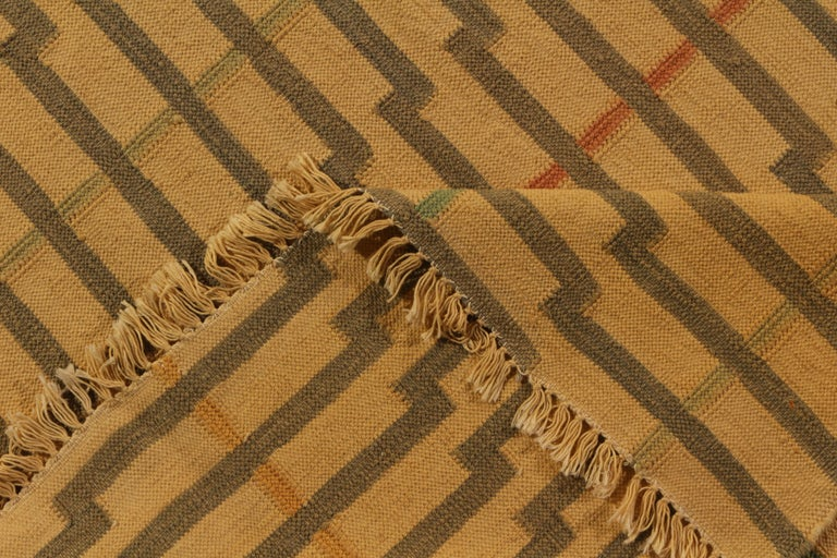 Late 20th Century Contemporary Striped Flat-Weave Beige Brown Pattern by Rug & Kilim For Sale