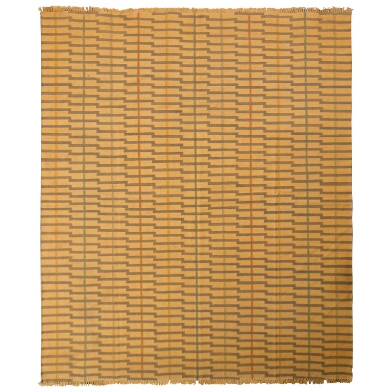 Contemporary Striped Flat-Weave Beige Brown Pattern by Rug & Kilim For Sale