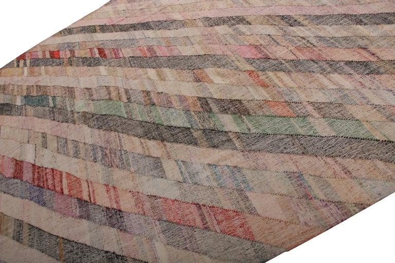 Turkish Contemporary Striped Kilim Wool Beige Brown Pink Multi-Color Geometric Pattern For Sale
