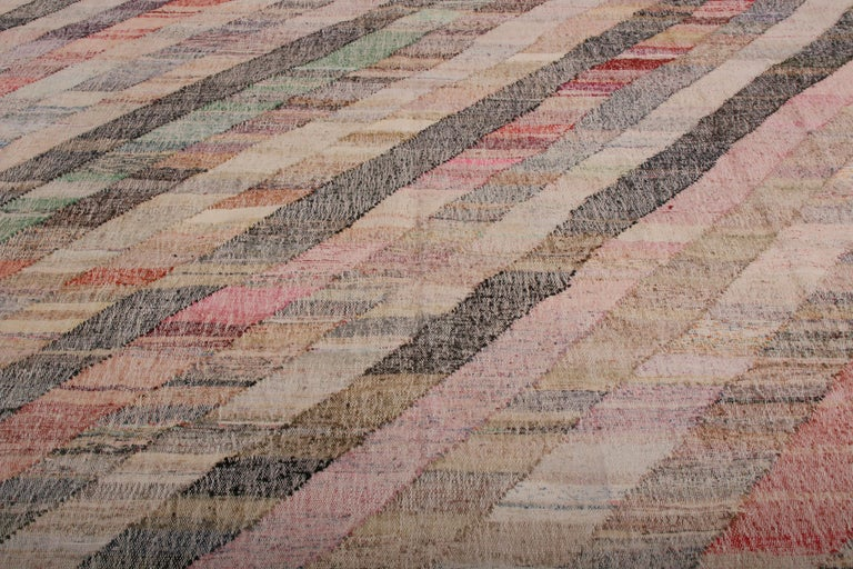Hand-Woven Contemporary Striped Kilim Wool Beige Brown Pink Multi-Color Geometric Pattern For Sale