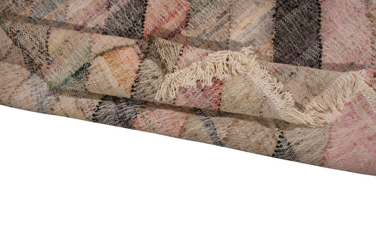 Contemporary Striped Kilim Wool Beige Brown Pink Multi-Color Geometric Pattern For Sale 1