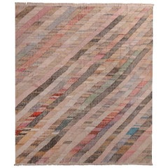 Contemporary Striped Kilim Wool Beige Brown Pink Multi-Color Geometric Pattern