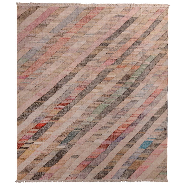 Contemporary Striped Kilim Wool Beige Brown Pink Multi-Color Geometric Pattern For Sale